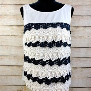 Ann Taylor Black Ivory Lace Ruffle Sleeveless Top